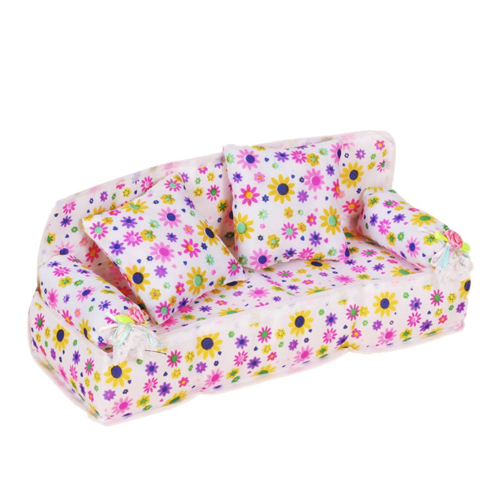 Dovewill Set of 3PCS Flower Print Couch Cushion Sofa Set for Barbie Size Dolls House Bedroom Decor Furniture