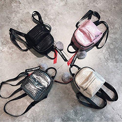 BESTOYARD Mini PU Leder Rucksack, klein Leder Damenrucksack Schulranzen mit Pelz Kugel für Kinder Mädchen (Rosa) Hellgelb