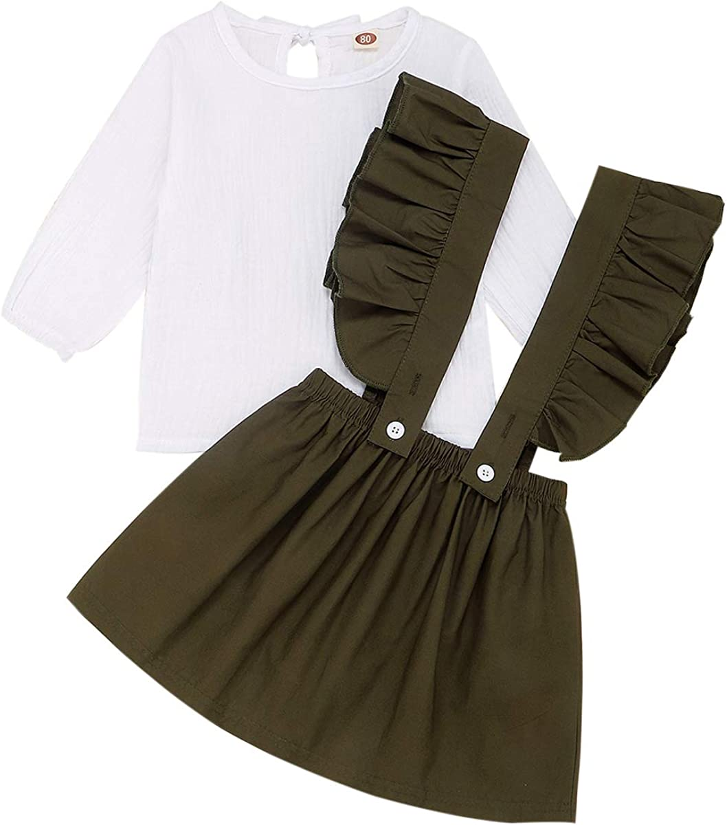 MTSLYH 幼児 赤ちゃん 女の子 コットンリネンシャツ+フリルサスペンダースカート オーバーオール アウトフィットセット
