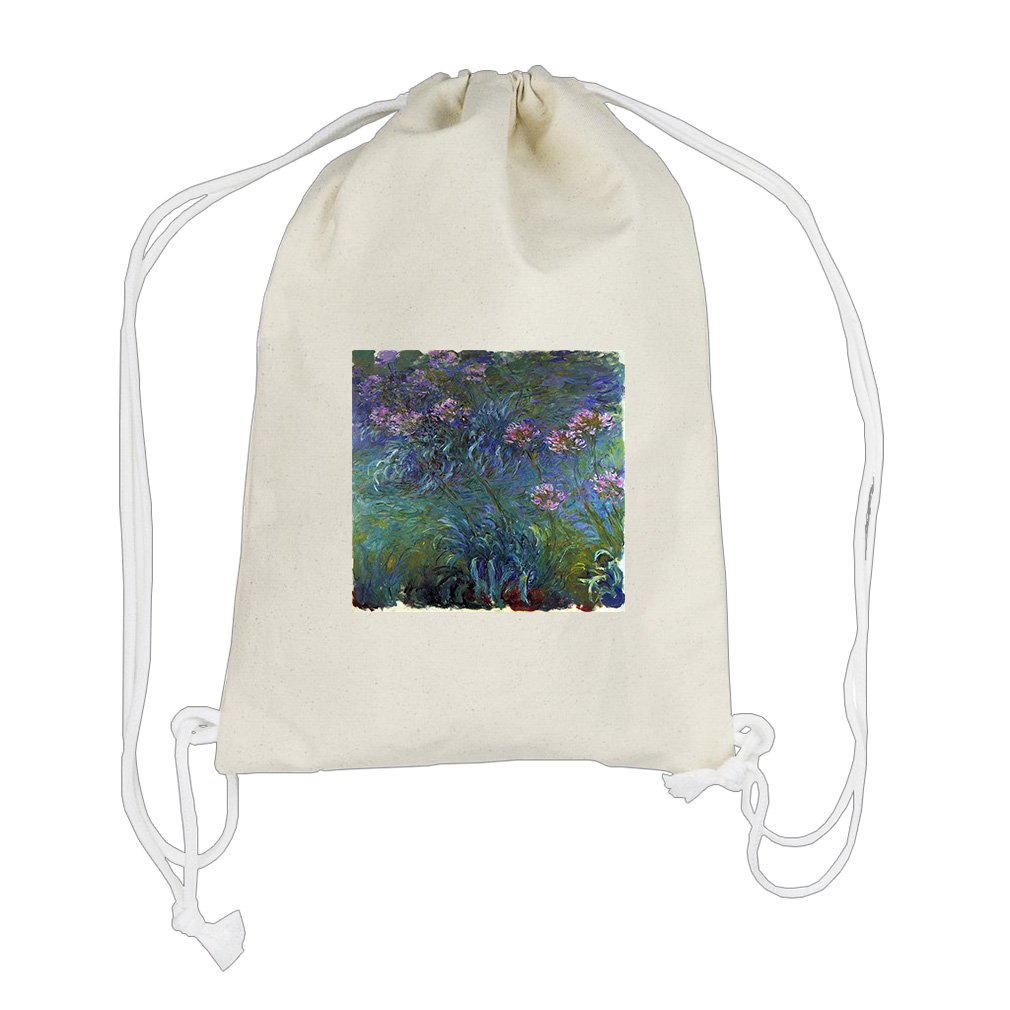 Jewelry Lilies #2 (Monet) Cotton Canvas Backpack Drawstring Bag Sack