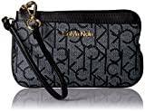 Calvin Klein Monogram Wristlet Item, Text White Black/Black