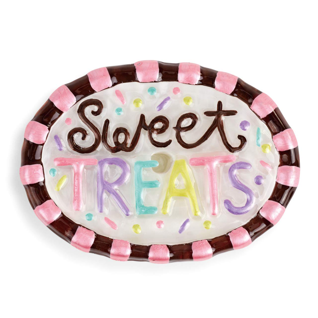 DEMDACO Sweet Treats Chocolate and Pink Stripe 4 x 3 Glass Collectible Pop in Figurine