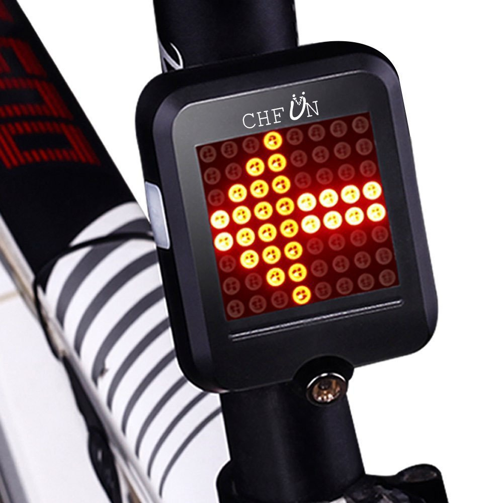 CHFUN USB Rechargeable Bike Tail Light,80 Lumens 64 LED Light Beads Bicycle Turn Signal Lights with Intelligent Sensor Brake Turn Signals Blinker for MTB Road Bicycle