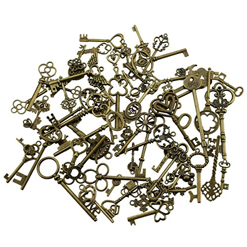 Key Keyway (69 Pieces Mixed Antique Bronze Vintage Skeleton Key Charms DIY Necklace Pendant for Handmade Jewelry Making (Bronze))