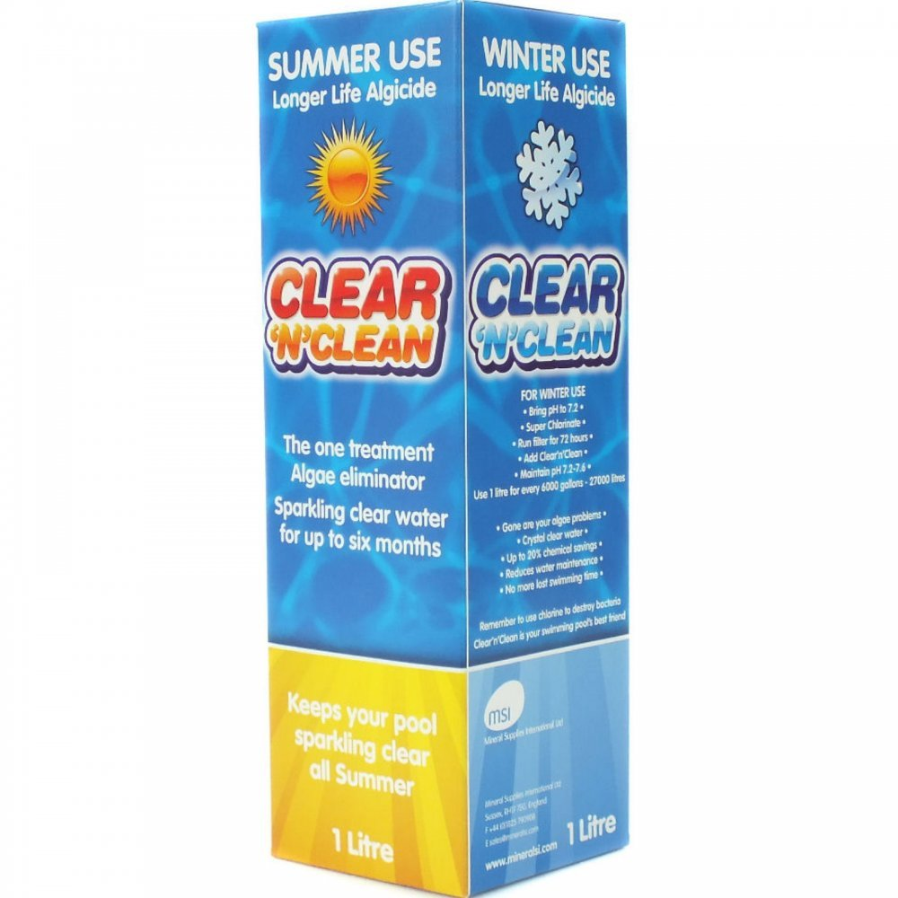 2x 1Litre Kleen Pool Algicide Swimming Pools Algae Controller Lasts 6 Months clean and clear