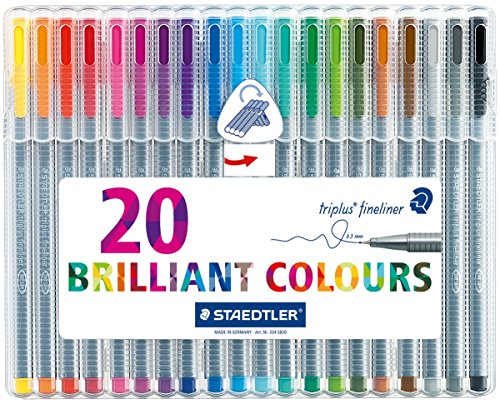 STAEDTLER triplus fineliner, 0.3mm metal-clad tip, ergonomic triangular barrel, for writing, drawing and coloring, set of 20 fineliners, 334 SB20 ()