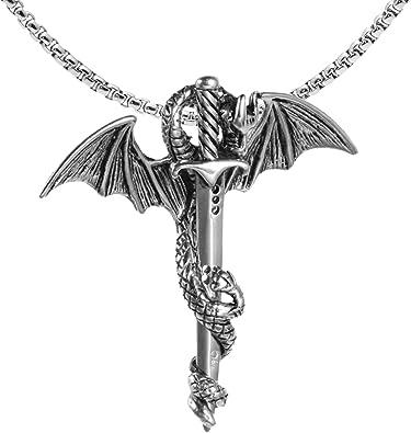 Creative Personality Vintage Sword Dragon Pendant Necklace Long Titanium Steel Chain Hip-Hop Man Necklace Unique Design Jewelry