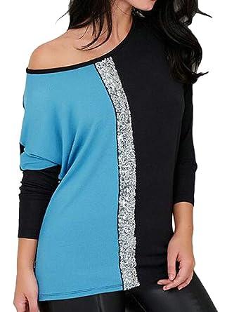 e87991408e0f3d Fensajomon Womens Long Sleeve Contrast Glitter Sequins Plus Size Top Blouse  T-Shirt at Amazon Women's Clothing store: