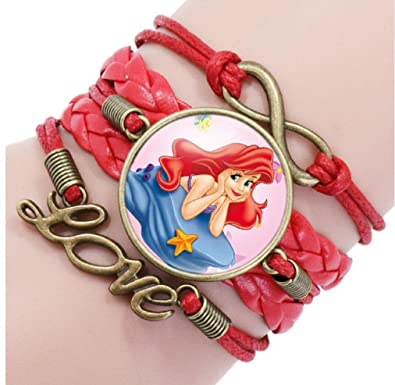 """Glass Pendant with Leather Necklace /""""ARIEL/"""" Disney/'s My Little Mermaid"""