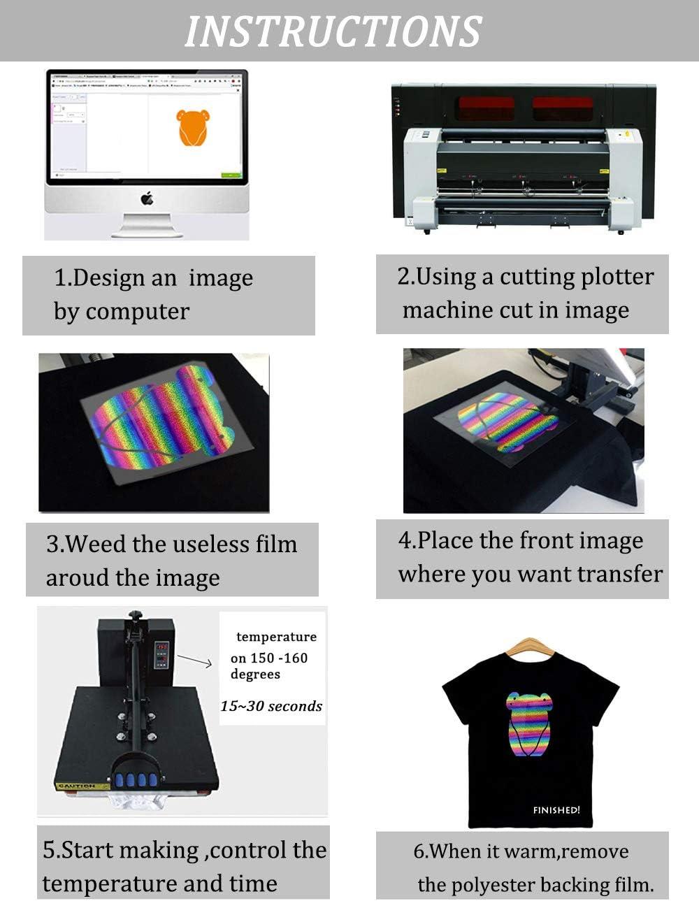 Rollos de vinilo para transferencia de calor, láser, arcoíris, HTV, holográfico, para planchar, vinilo, prensa de calor, para Cricut y Silhouette, diseño de bricolaje para camisetas: Amazon.es: Juguetes y juegos