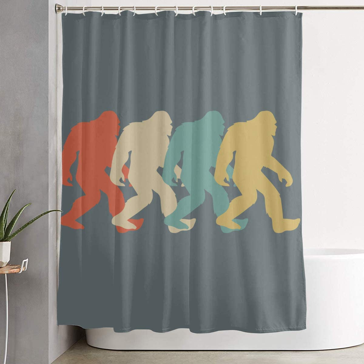 BHJ-YL Retro Bigfoot Sasquatch Elegant Polyester Shower Curtain Water-Repellent Shower Curtains Bathroom Sets for Home/Hotel Decor