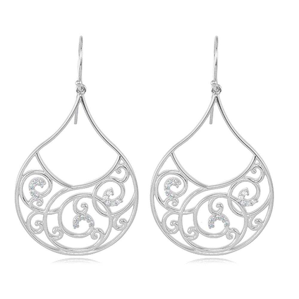 1/4 Carat Vintage Diamond Teardrop Scroll Earrings in Sterling Silver