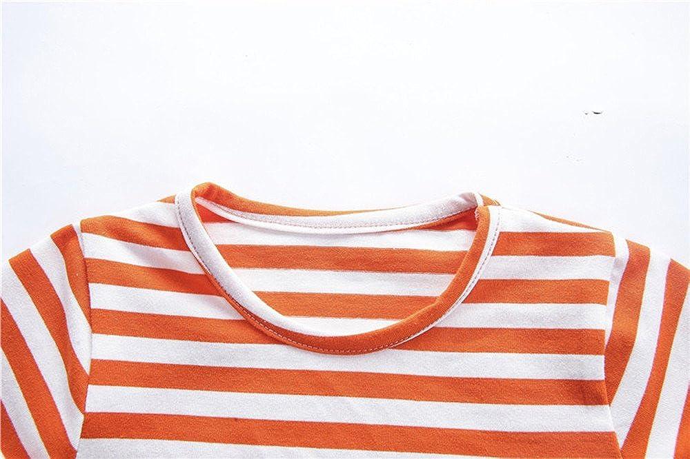 Wenjuan Baby Boys Dinosaur Cartoon T-Shirt Stripes Tops+Shorts Outfits Clothes Sets