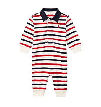 84095153 RALPH LAUREN Baby Boys Striped Cotton Rugby Coverall (Clubhouse Cream/Navy,  6 Months