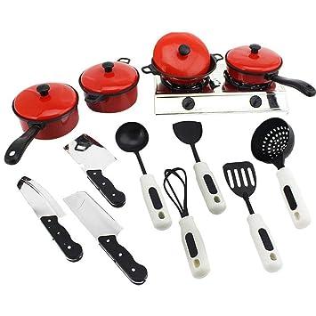 Wekold Juego de Cocina de 17 Piezas con Diversos Accesorios, Utensilios de Cocina, Utensilios de Cocina y vajilla Cuchillos de Tenedor para cocinar
