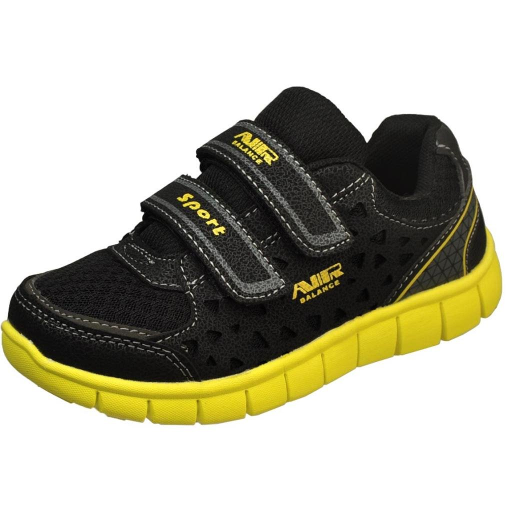 Air Balance Boys Youth Black/Yellow Double Velcro Strap Fashion Sneakers