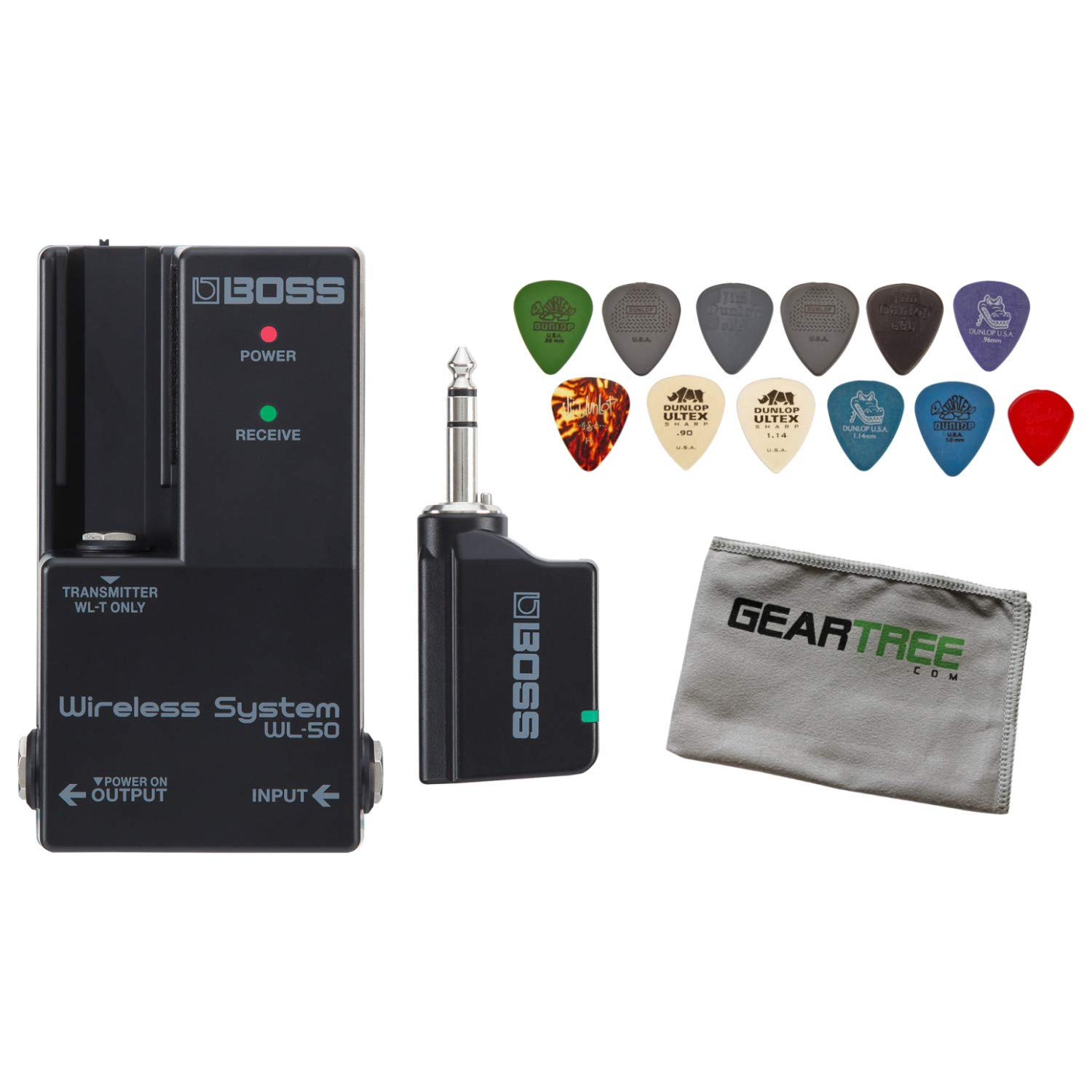 Boss WL-50 Guitar Pedalboard Wireless System Bundle w/Cloth and Pick Pack by BOSS