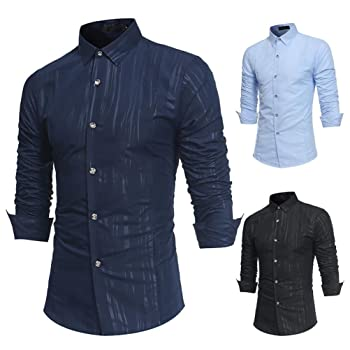New! Men's Autumn Casual Formal Print Slim Fit Long Sleeve Dress Shirt Top Blouse