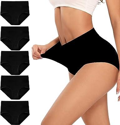 5 PACK Ladies Hi-Leg Briefs Cotton Comfort Knickers Regular Underwear Lingerie