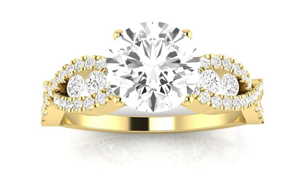 14K Yellow Gold 1.28 CTW Designer Twisting Eternity Channel Set Four Prong Diamond Engagement Ring w/ 0.68 Ct Round Cut H Color SI1 Clarity Center