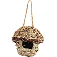 Woven Rope Acorn Roosting Pocket,Straw Bird House Nest Birdhouse with Roof for Parrot Hamster Small Pets Animals Cage…