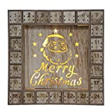 Wooden Christmas Advent Calendar with LED Lights