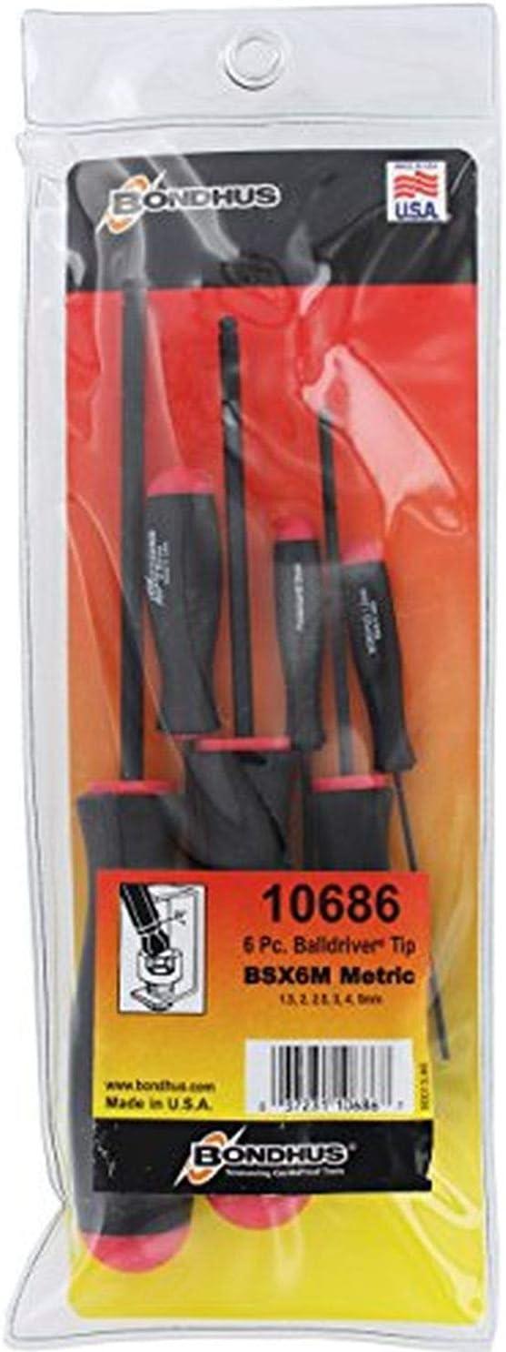 Bondhus 10686 1.5-5mm Balldriver Screwdrivers 6 Piece Set Fivе Расk