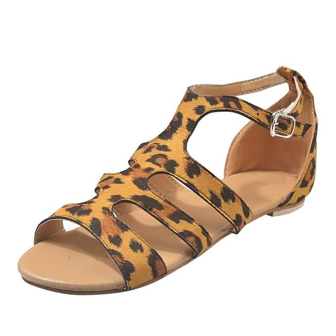 0f4341e0 Geilisungren Sandalias de Mujer Verano Sandalias de Punta Abierta Zapatos  Planos Leopardo Zapatos con Cordones Zapatillas