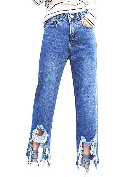 Mujer Vaqueros Suelto Pantalones Jeans Talla Grande Palazzo ...