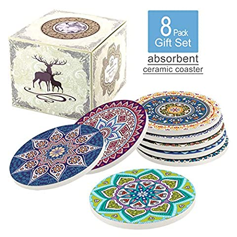 Naipusun Coasters for Drinks,Absorbent Ceramic Stone with Cork Backing Mandala Coaster,Suitable for Kinds of Cups and…