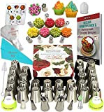 K&S Artisan Russian Piping Tips Set DELUXE Cake Decorating Tips 33 GENUINE Icing Nozzles For Cupcake Decorating 2 Ball Piping Tips 3 Couplers 30 Frosting Bags PROFFESSIONAL Baking Supplies Set E book