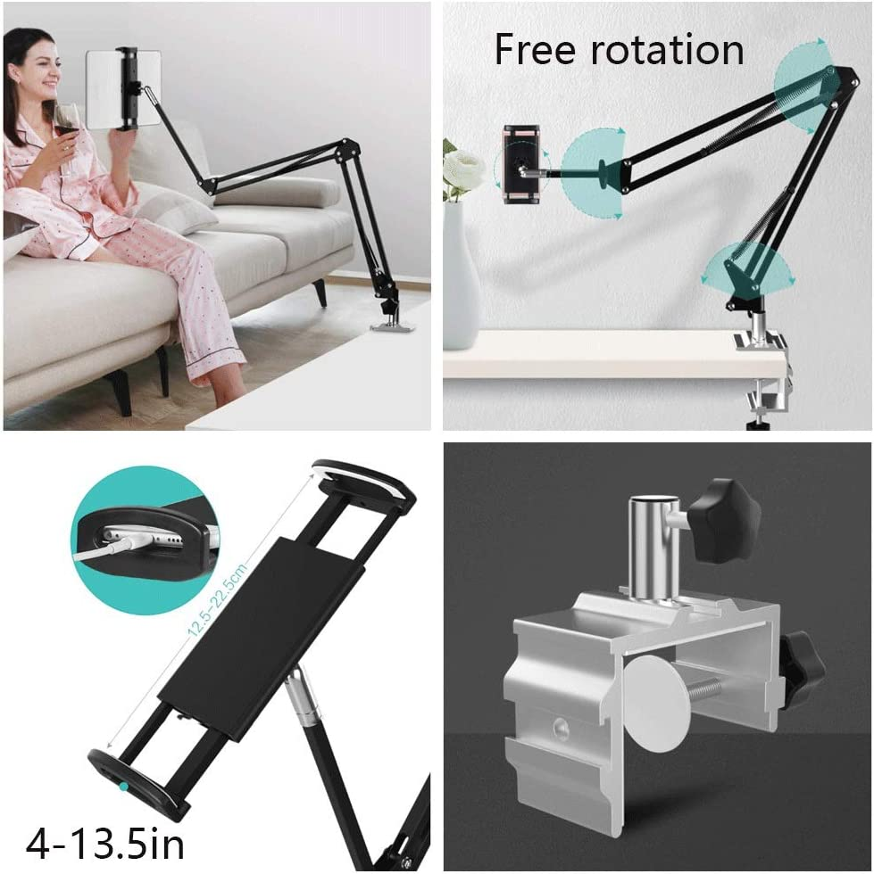 Miyabitors Bedside Phone Holder Tablet Shelf Lazy Bracket Universal Bed with Artifact Clip Double Universal Rotation Bedside Storage