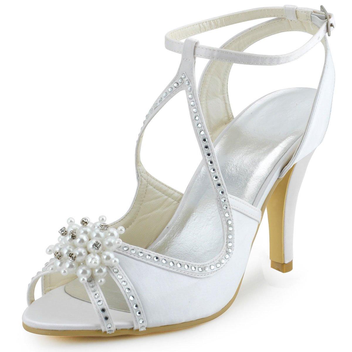Elegantpark EP11058 19571 Bout Ouvert Satin Perle EP11058 Strass de Aiguille Talon Pumps Femme Sandales Chaussures de Mariage Blanc 184851a - reprogrammed.space