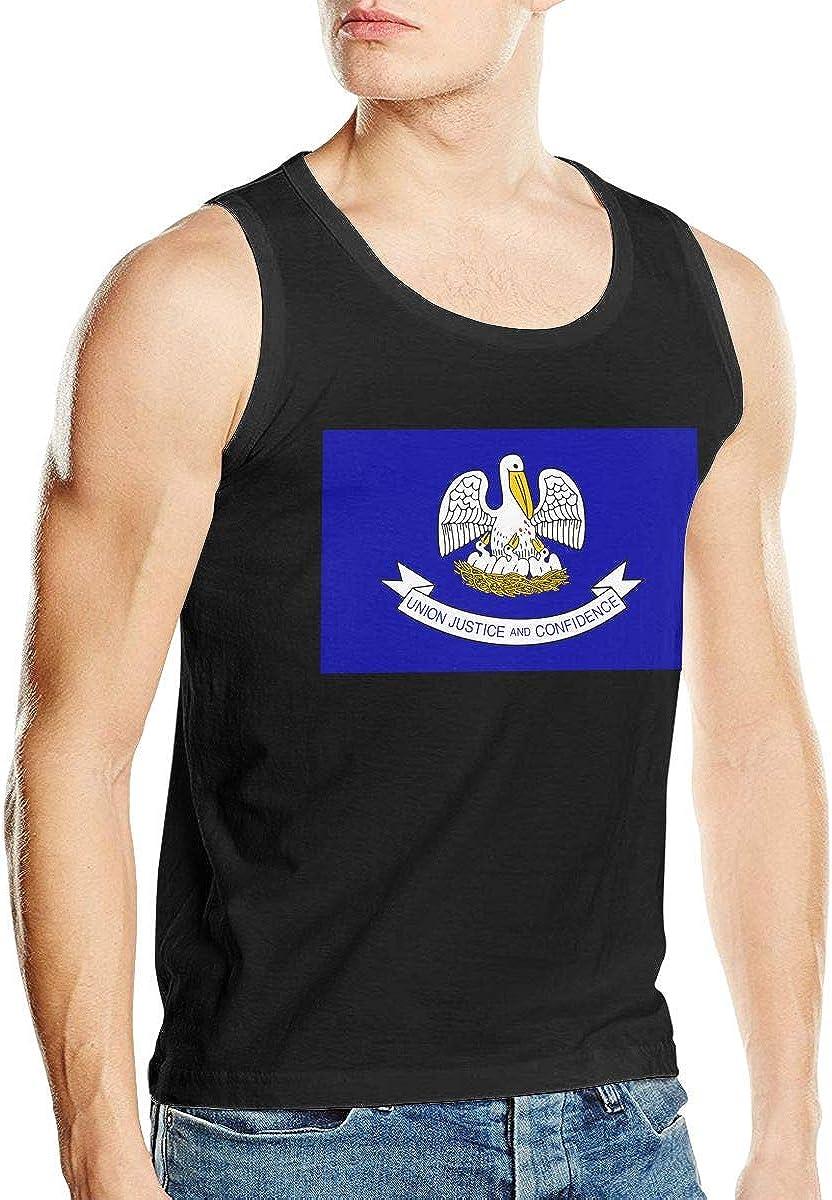 Men Tank Vest Louisiana FlagFunny Tops Tshirts Black