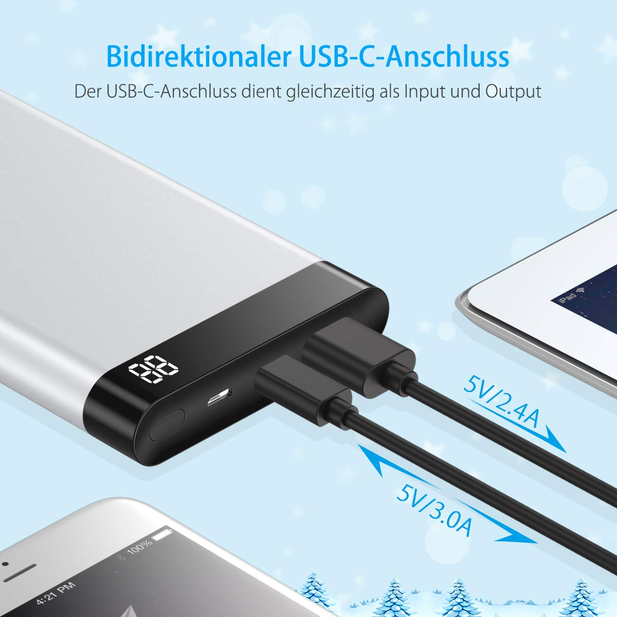 Poweradd VirgoⅠ10000 mAh Powerbank Metallische Handy Externe Akkus , LED Bildchirm Bildschirm zeigt die verbleibende Kapazität an, Besitzt Micro USB Input, USB Output, Ein Input/Output USB C Port