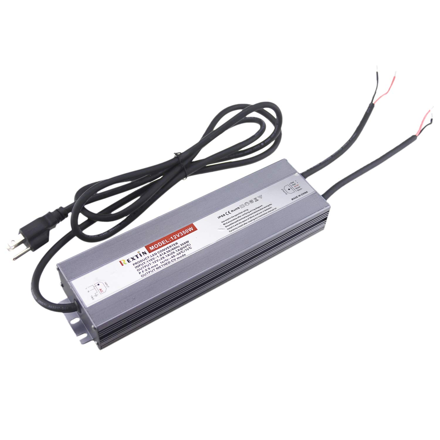 Rextin DC 12V 350W 29A Led Power Supply Constant Voltage LED Transformer IP67 Waterproof Aluminum Alloy Shell For LED Lighting Led Strip Led Module LED Power Accessories (350W 29.1A)