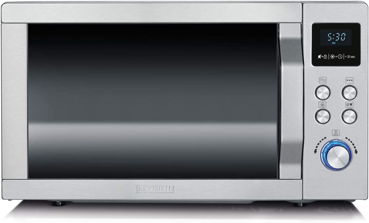 in acciaio inox//nero 900 W Microonde 3 in 1 /Ø 27 cm e griglia con funzione grill e aria calda SEVERIN MW 7753 con piatto girevole