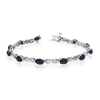 Amazon Com 14k White Gold Oval Sapphire And Diamond Bracelet 6