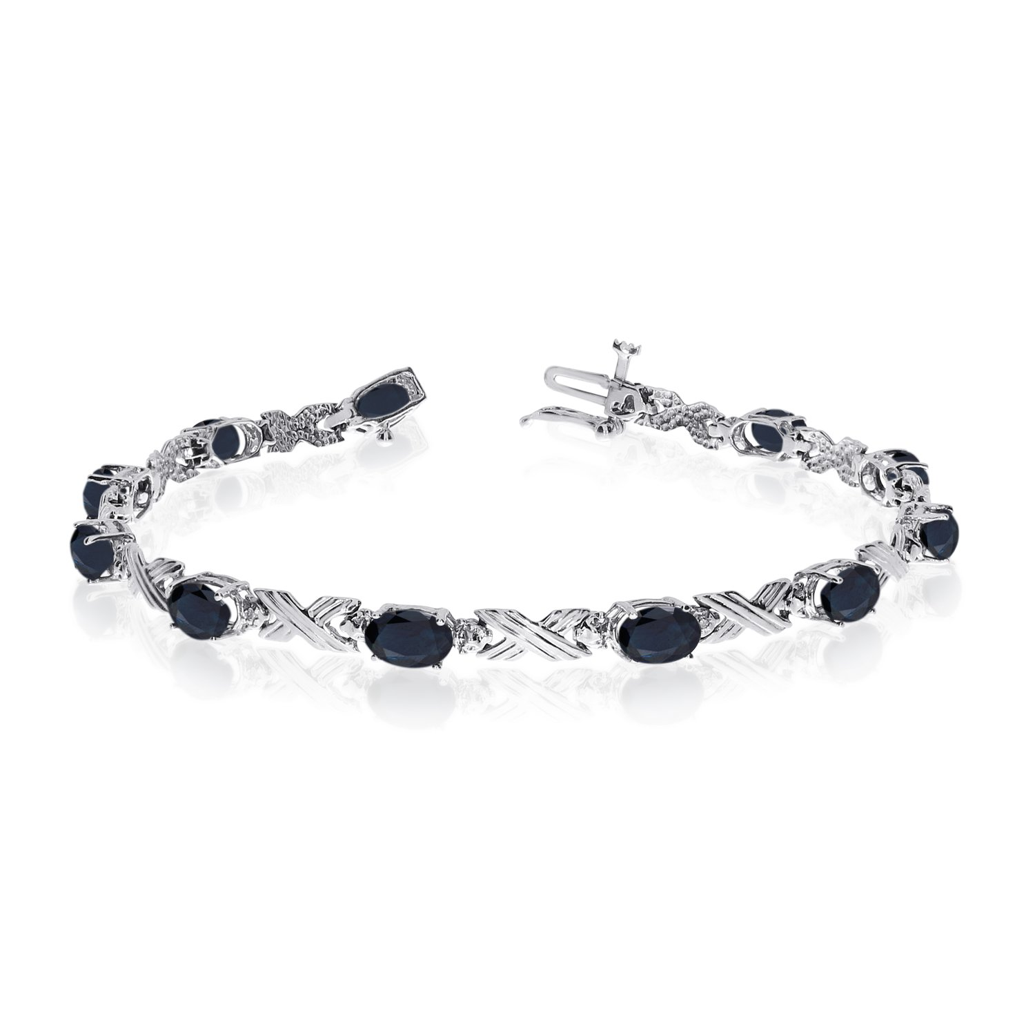 14K White Gold Oval Sapphire and Diamond Bracelet (7 Inch Length)
