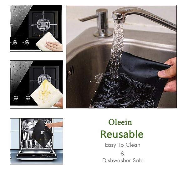 Protectores de Cocina con Quemador de Gas - Oleein Tapa de Teflón Forro Alfombrillas de Estufa de Gas Reutilizables, 10.6