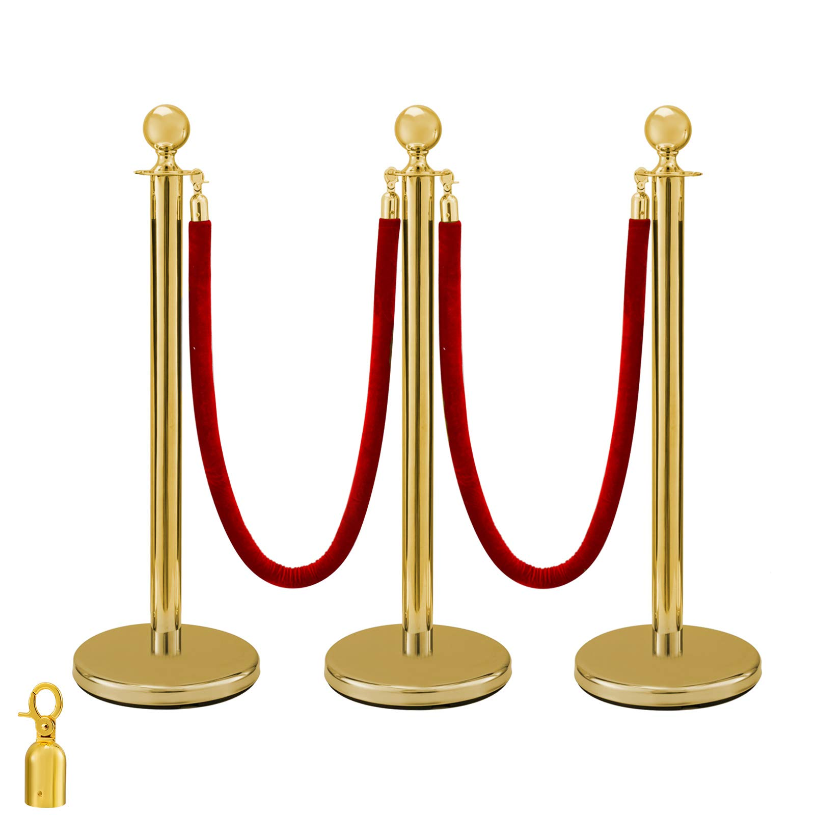BestEquip 3Pcs Gold Stanchion Posts Queue Red Velvet Rope 38 Inch Crowd Control Barriers Queue Line Rope Barriers for Patrty Supplies