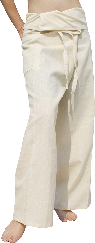 RaanPahMuangハイグレード中国55%麻45 % Cotton Thai Fisherman Wrap Pants Tall アイボリークリーム X-Large