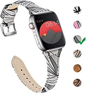 OULUCCI Compatible with Apple Watch Band 38mm 40mm, Genuine Leather Watch Strap Compatible with Apple Watch Series 6 5 4 (40mm) Series 3 2 1 (38mm) Sport and Edition