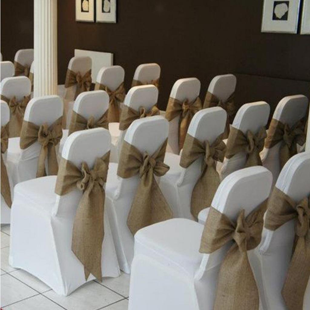 sarvam fashion SF_New Natural Burlap Jute Chair Bow Sashes for Wedding Party Decor 6.5'' X 108'' Pack of (1) by sarvam fashion (Image #2)