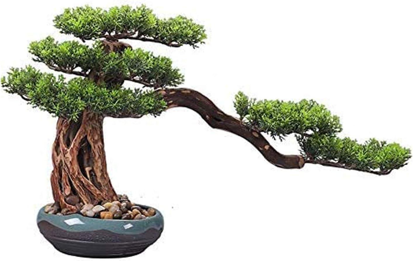 Plantas Artificiales Árbol Bonsai Falso Árbol de bonsais de estilo chino en maceta de cerámica raíz natural para talla de ornamentos artificiales de interior Pino falso para la oficina de entrada de l