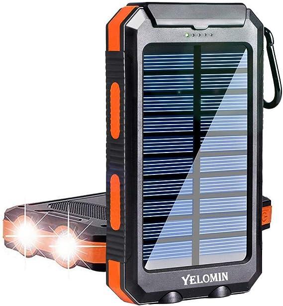 Yelomin Cargador Solar portátil de 20000 mAh para Exteriores, Resistente al Agua, batería de Respaldo Externa para Camping, Doble USB 5 V 1 A/2 A de ...