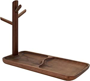 THE BASIC LIVING Solid Wood Jewelry Tray, Trinket Dish Mid Century Modern Catchall Tray Jewelry Stand Hanging Organizer, Home Decor Key Tray Ring Holder - Walnut