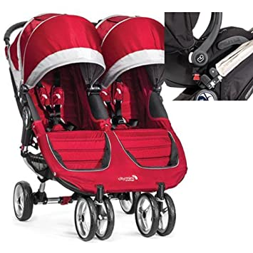 Baby Jogger 12236 City Mini Double Stroller In Crimson Gray With New Car Seat Adapter