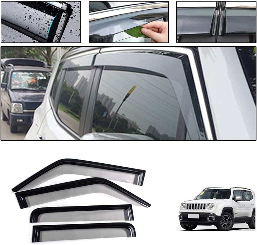 4Pcs Smoke Window Visor Vent Sun Shade Rain Guard Deflector for Jeep Renegade 2016-2019 Aramox Car Side Window Wind Deflectors /& Visors