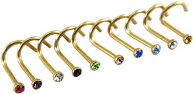 Gold Nose Stud Screw Ring Pin Studs Stainless Steel Nose Piercing